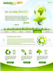 Green eco website template with light bulb