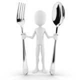 3d man holding a spoon and a fork