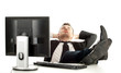 tired young businessman in black suit with computer