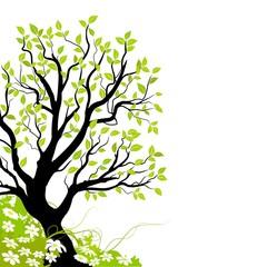 vecteur série arbre vectoriel et fleur illustration vectorielle