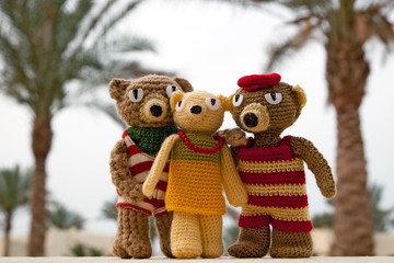 Knitted toy bears front of tropical palm tree