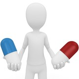 3d man with pills choose red or blue