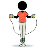 Silhouette-man jumping with skipping rope