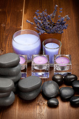 Hot stones and lavender minerals for aromatherapy