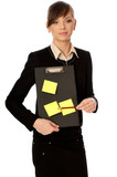 officer with document case and stickers