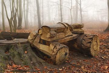 Waldspielplatz im Nebel, Trecker