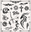 Tattoo, vector set, schwarz