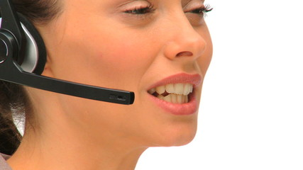 Close up of a businesswoman in a call center