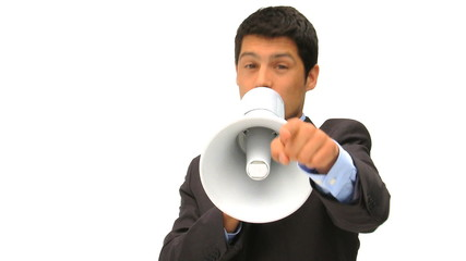Young man shouting through a megaphone