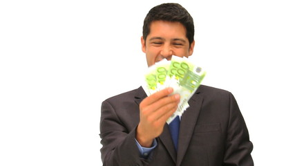 Young businessman holding his cash