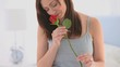Beautiful woman with her rose