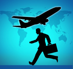 Catching a flight symbol represented by a businessman running