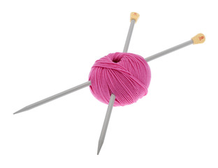 Wolle mit Stricknadel
