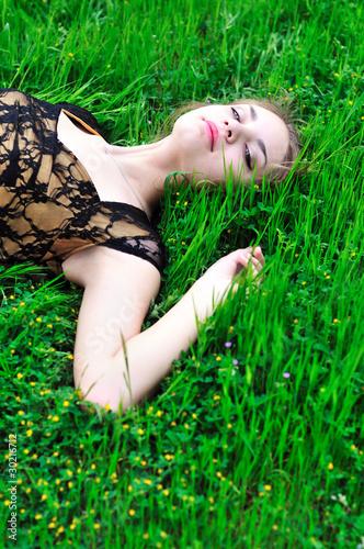resting spring girl
