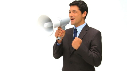 Businessman speaking through a megaphone