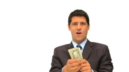 Businessman showing off his cash