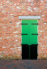 Green Door in a Brick Wall