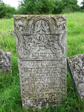 Jewish gravestone in ancient cemetery in Ukraine poster