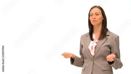 Brunette business woman giving some explanation