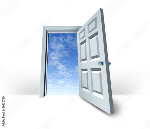 open opportunity symbol of open door stock photo and