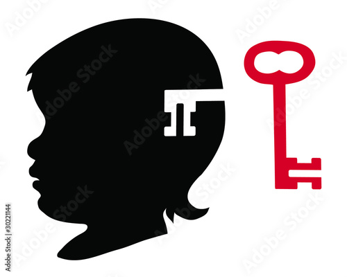 Child's silhouette and key 2