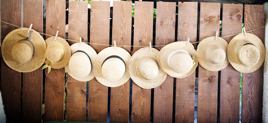 row of sunhats