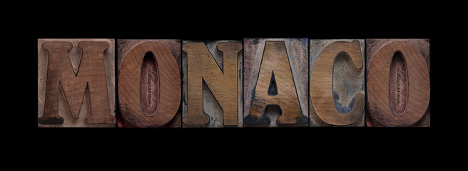 Monaco in old wood type