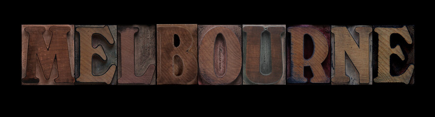 Melbourne in old wood type