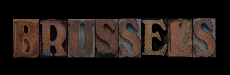 Brussels in old wood type