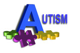 Autism title with colorful puzzle pieces