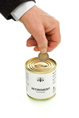Senior man putting coin in retirement package tin can