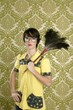 housewife nerd retro woman home chores wallpaper