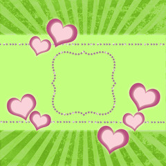 greeting card with diamonds and hearts on  srtiped background