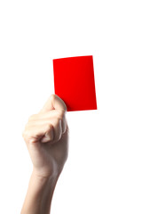 Hand holding a red card isolated on white background