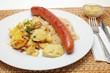 Krakauer Bratwurst, Sauerkraut, Bratkartoffeln
