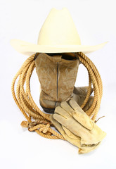 Cowboy boots glove and hat
