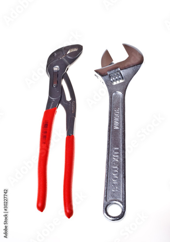 Poster Alligator wrench and adjustable spanner(isolated).