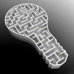 Finding a solution - conceptual lightbulb with maze inside