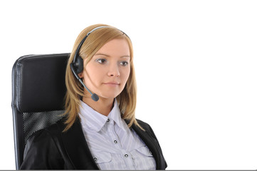 Young office worker with headset.