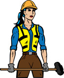 Stylized construction female worker with sledgehammer.