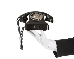 Old Telephone in battler hand