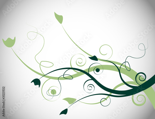 Green Floral Spring Background