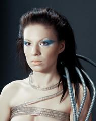 portrait of fantasy cyborg girl.