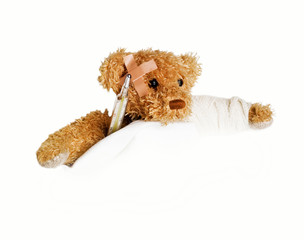 Teddy Bear as a patient - with arm broken