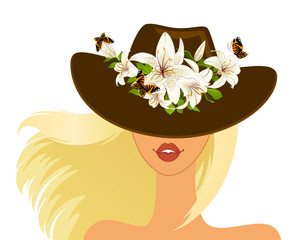 Beautiful girl in hat with beautiful tropical flowers. Vector