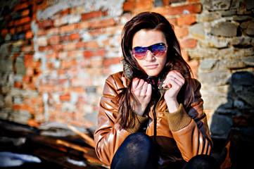 Brunette girl in glasses