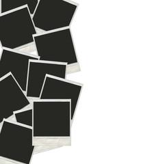 Many polaroid photos isolated on a white background