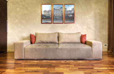 modern sofa in a white living room-rendering- the art pictures