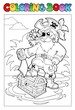 Coloring book with pirate scene 1