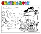 Coloring book with pirate scene 2 - 30235121